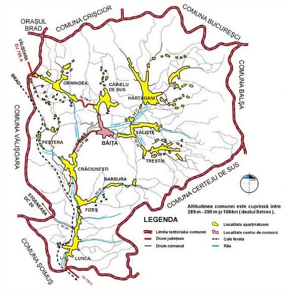 Harta comunei Băița
